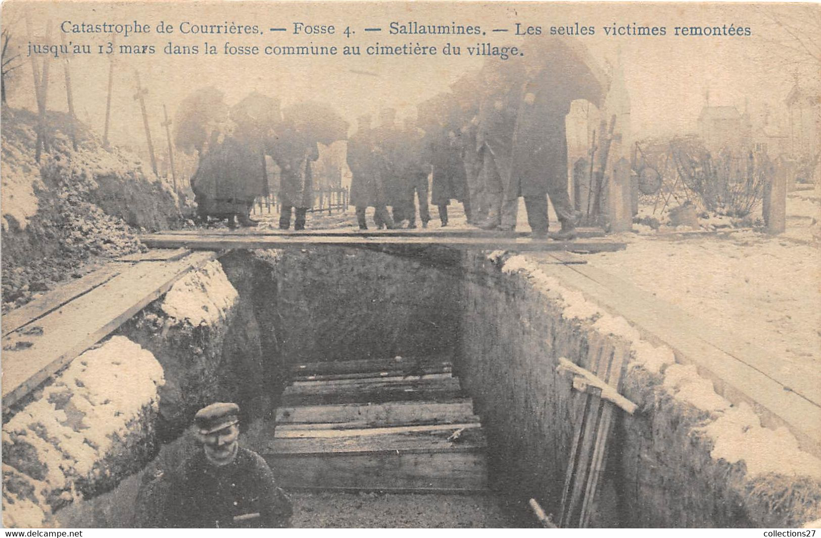 62-COURRIERES-CATASTROPHE DE COURRIERES, FOSSE 4- SALLAUMINES- LES SEULES VICTIMES REMONTEES ... - Andere Gemeenten