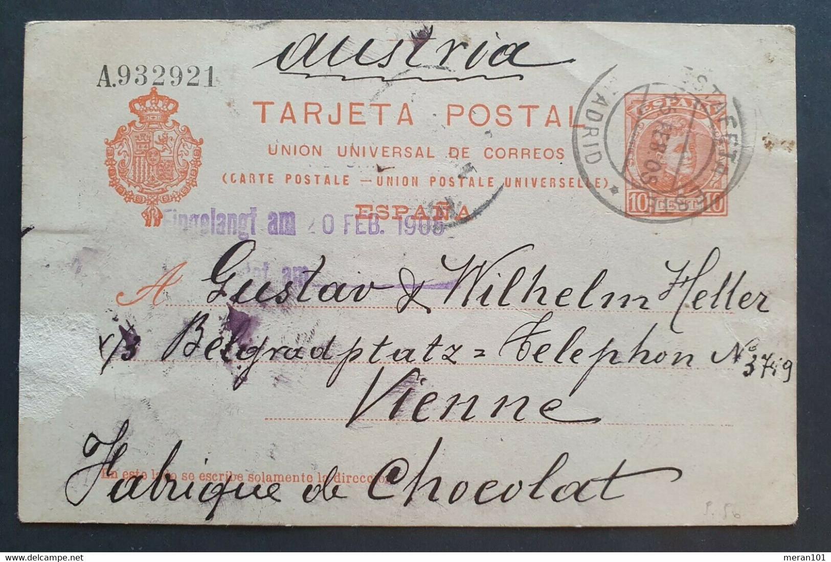 Spanien 1905, TARJETA POSAL 10Cent MADRID Gelaufen WIEN - 1850-1931