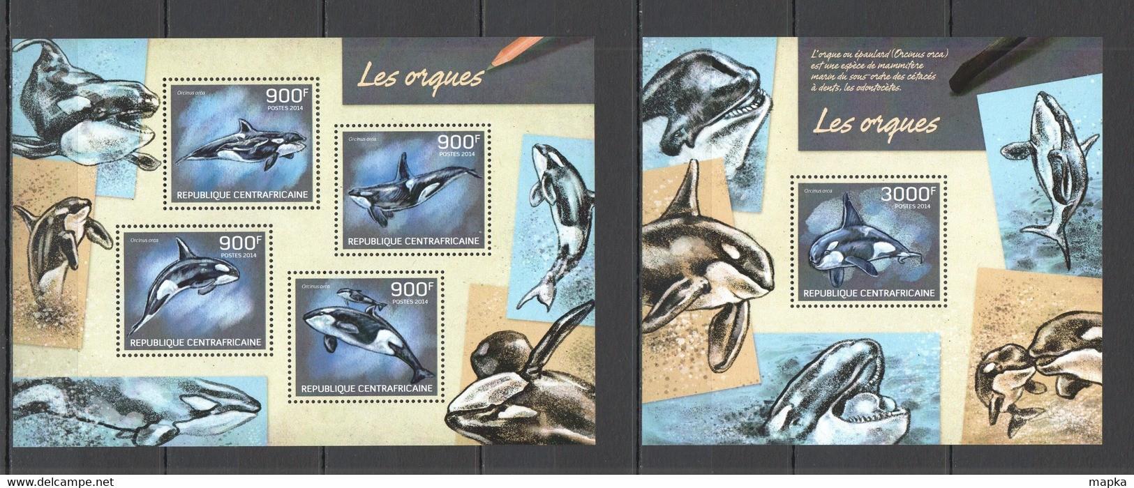 CA431 2014 CENTRAL AFRICA CENTRAFRICAINE FAUNA MARINE LIFE ORCAS LES ORQUES KB+BL MNH - Ballenas