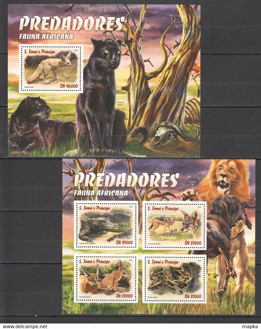 ST1555 2016 S. TOME E PRINCIPE ANIMALS & FAUNA PREDATORS AFRICA 1KB+1BL MNH - Otros