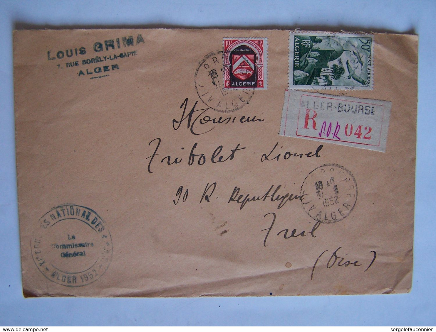 ALGERIE 31-3-1952 ALGER Vers CREIL LETTRE RECOMMANDEE - Usati