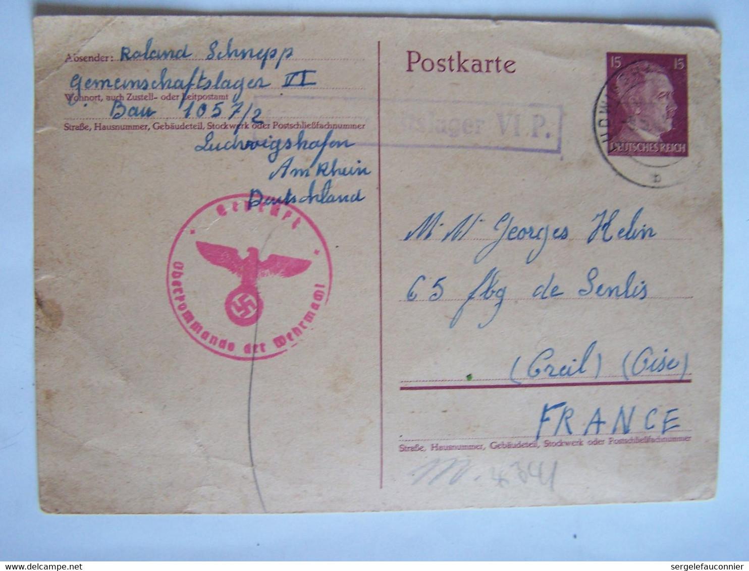 ALLEMAGNE 7-5-1943 CAMP De PRISONNIERS  Vers OISE - Altri