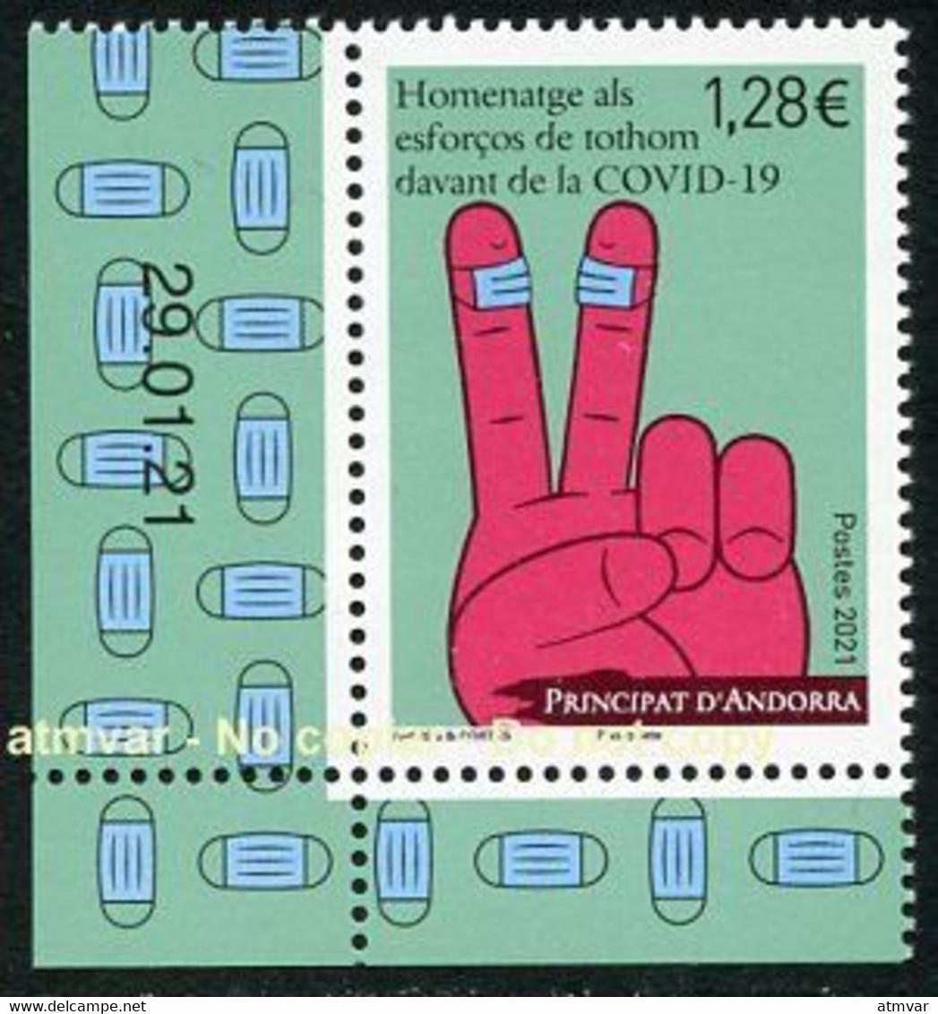 ANDORRA ANDORRE Postes (2021) - Homenatge Esforços Tothom Davant COVID-19 - Timbre, Sello, Stamp MINT COIN DATÉ - Nuevos
