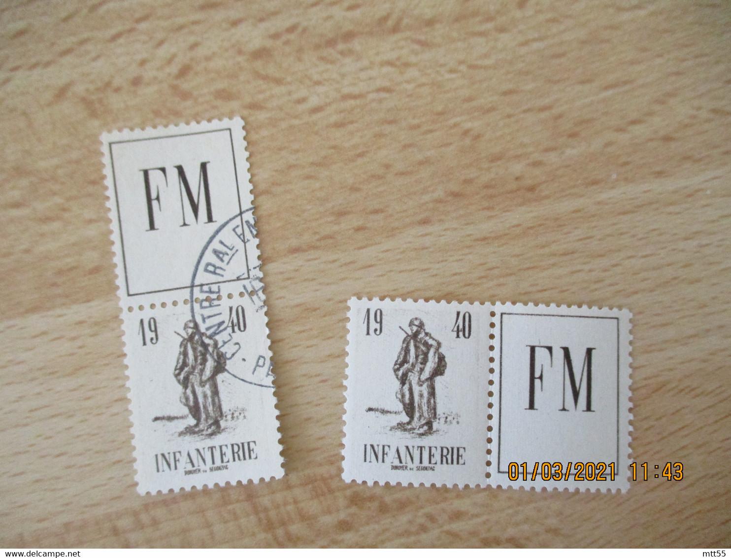 Lot De 2 Infanterie F M 1940 Franchise Militaire Vignette Timbre Eronnophilie - Militärmarken