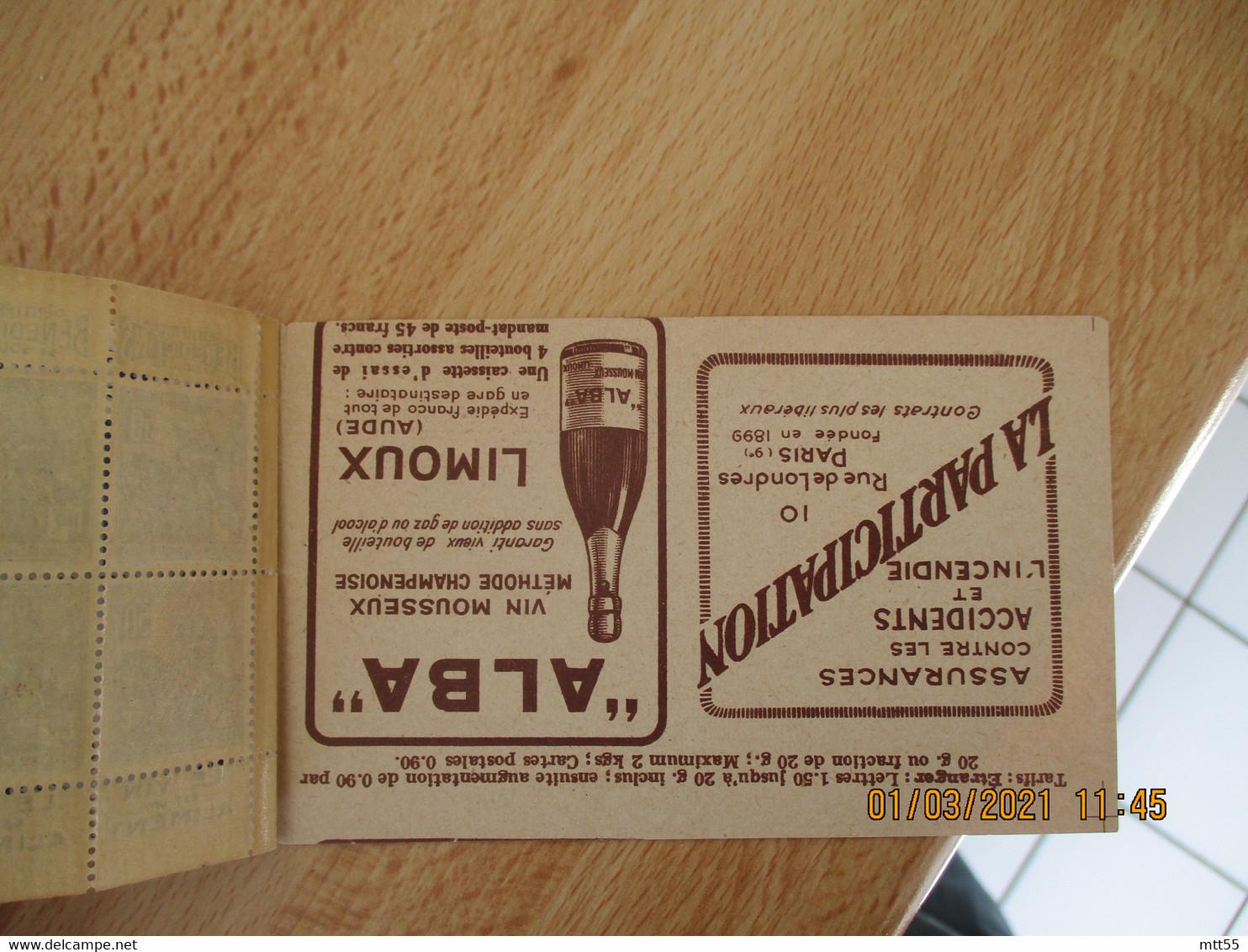 Carnet 20 Timbres Jeanne D Arc Phosphatine Fallieres Vin Aliment Publicite Lux Radio Alba Limoux - Sonstige
