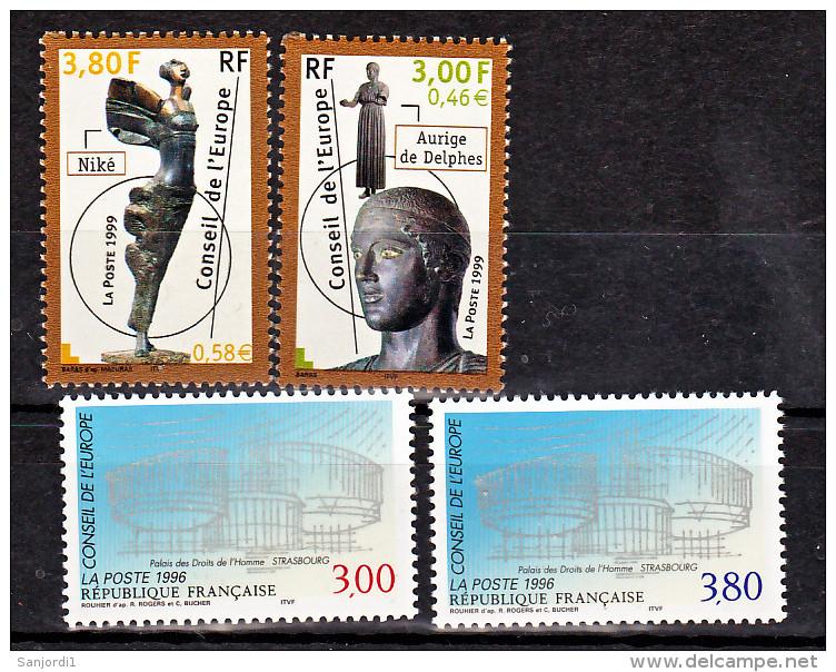 France Service 116 117, 120 121 1/4 De Cote Conseil De L'europe Neuf ** TB MNH Sin Charnela Cote 11.5 - Neufs