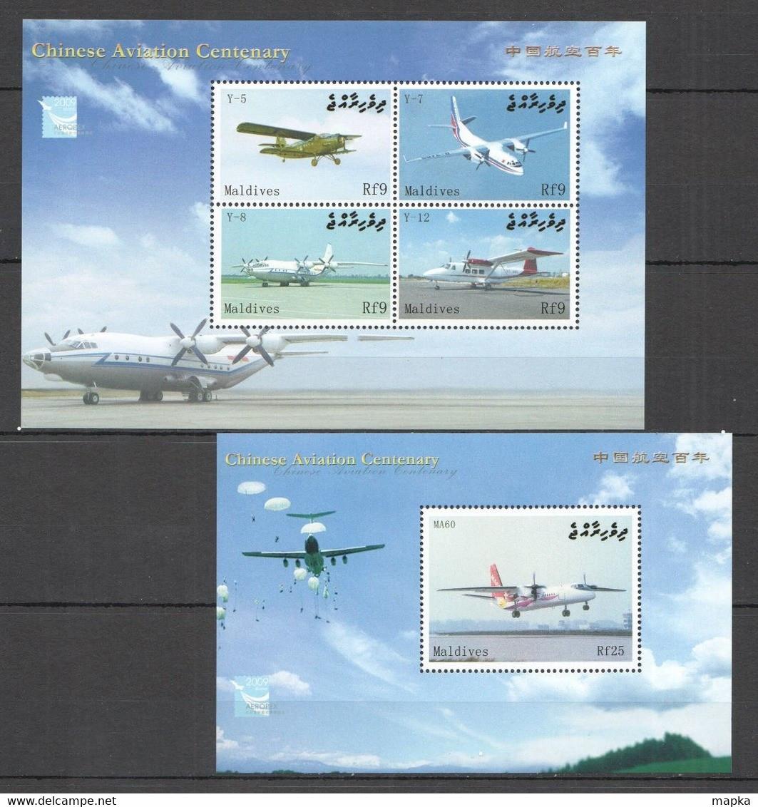 A513 2009 MALDIVES TRANSPORT CHINESE AVIATION CENTENARY 1BL+1KB MNH - Avions