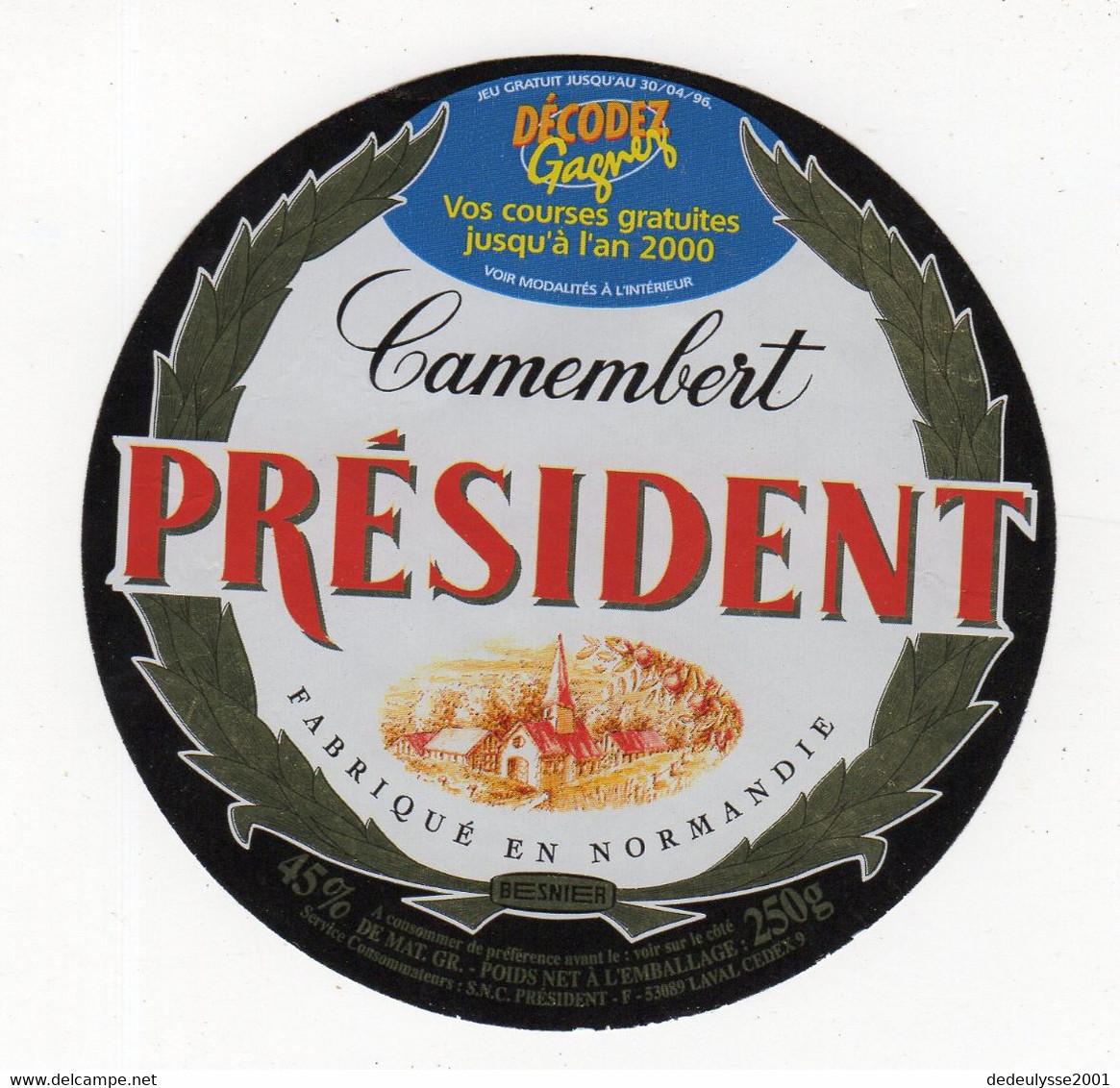 Mar21  530114   étiquette  Camembert Président     Décodez   Gagnez L'an 2000 - Fromage