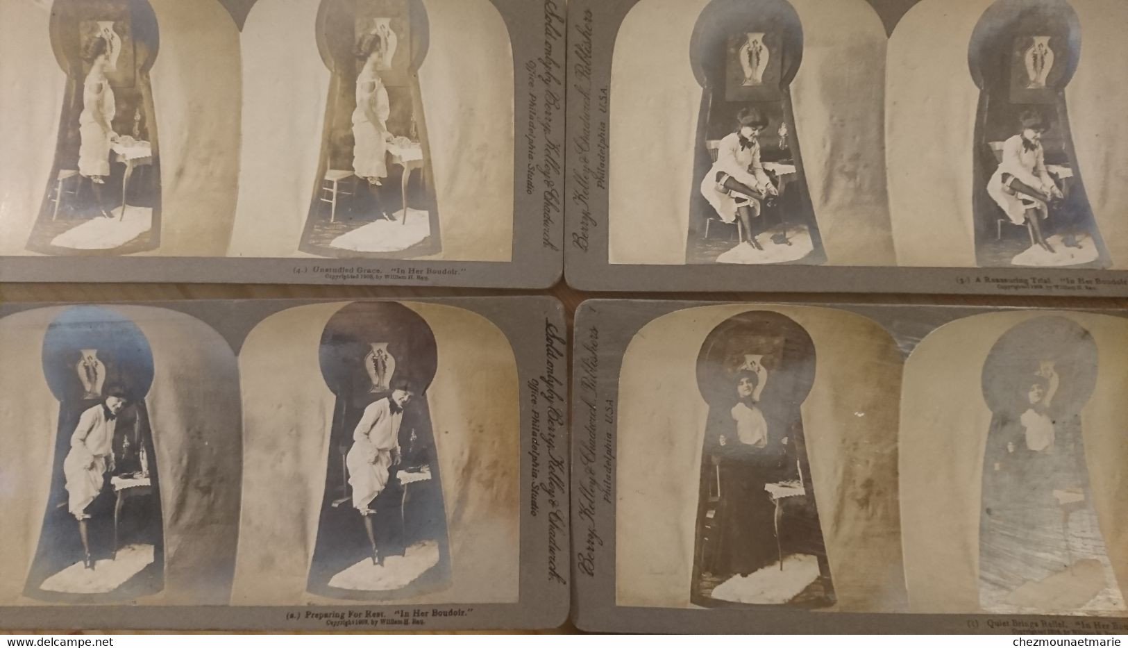 FEMME SE DESHABILLANT DANS LE BOUDOIR VUE A TRAVERS LA SERRURE - LOT DE 5 PHOTOS STEREO BERRY KELLEY PHILADELPHIE - Stereoscopio