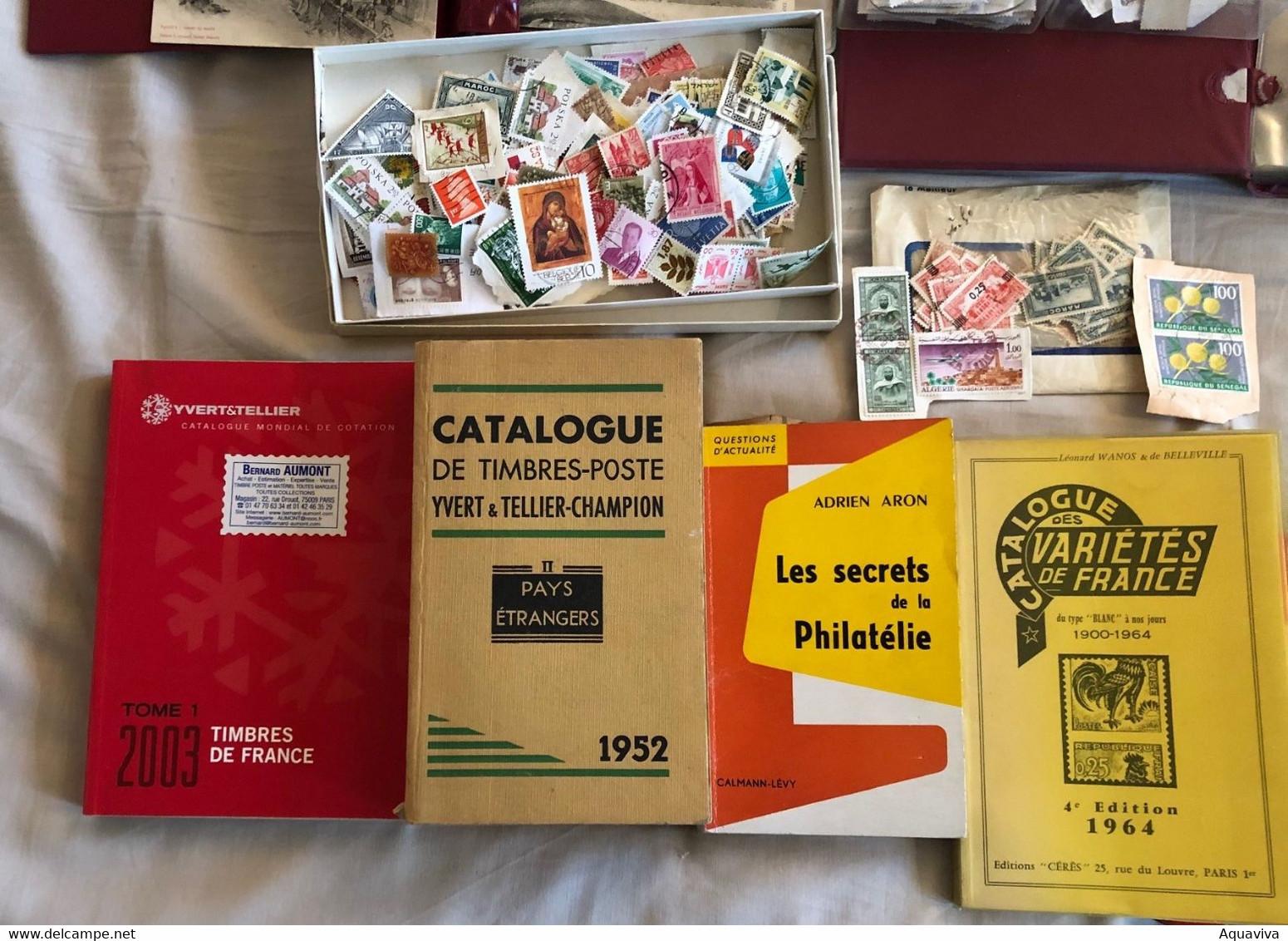 ***Lot Magique *** Collection : Timbres,cartes Postales, Classeurs Et Catalogues ... Pour S'amuser Pendant Les Soirées ! - Collections (without Album)