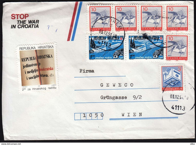 Croatia Zagreb 1991 / Mixed Franking Yugoslavia - Croatia / Bird Letter Flower, Zagreb Dubrovnik Air Mail - Croacia