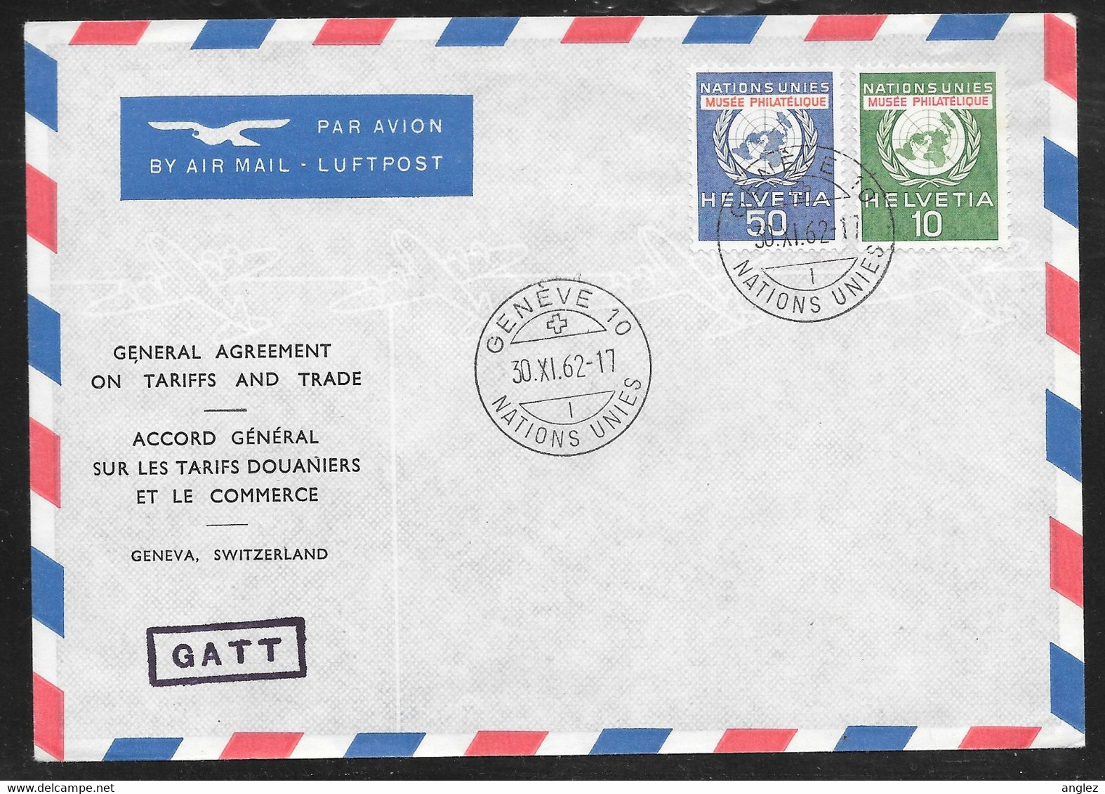Switzerland / United Nations Geneva - 1962 GATT Treaty Cover - Postal Museum Stamps - Lettres & Documents