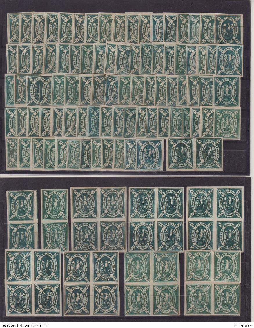 BOLIVIE : N° 2 . * ET ** . 85 EX . 3 PAIRES . 7 BLOCS DE 4 . DIVERSES NUANCES . 1968/68 . ( CATALOGUE YVERT ) . - Bolivien