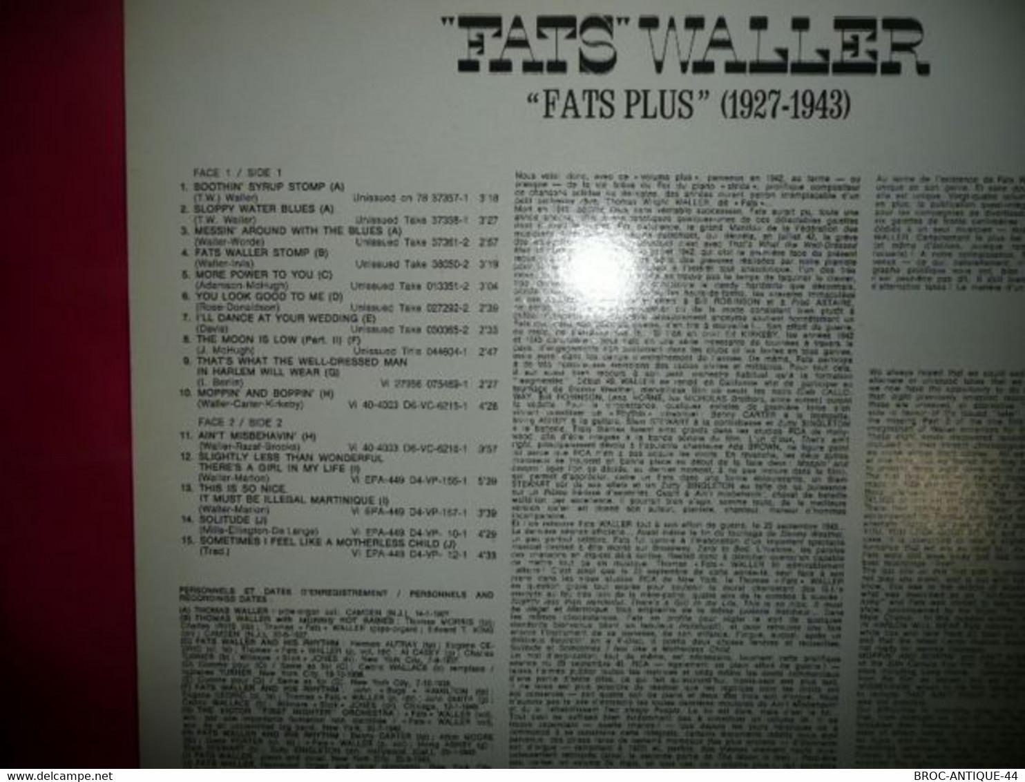 LP33 N°7878 - FATS WALLER - PM 43261 - Jazz