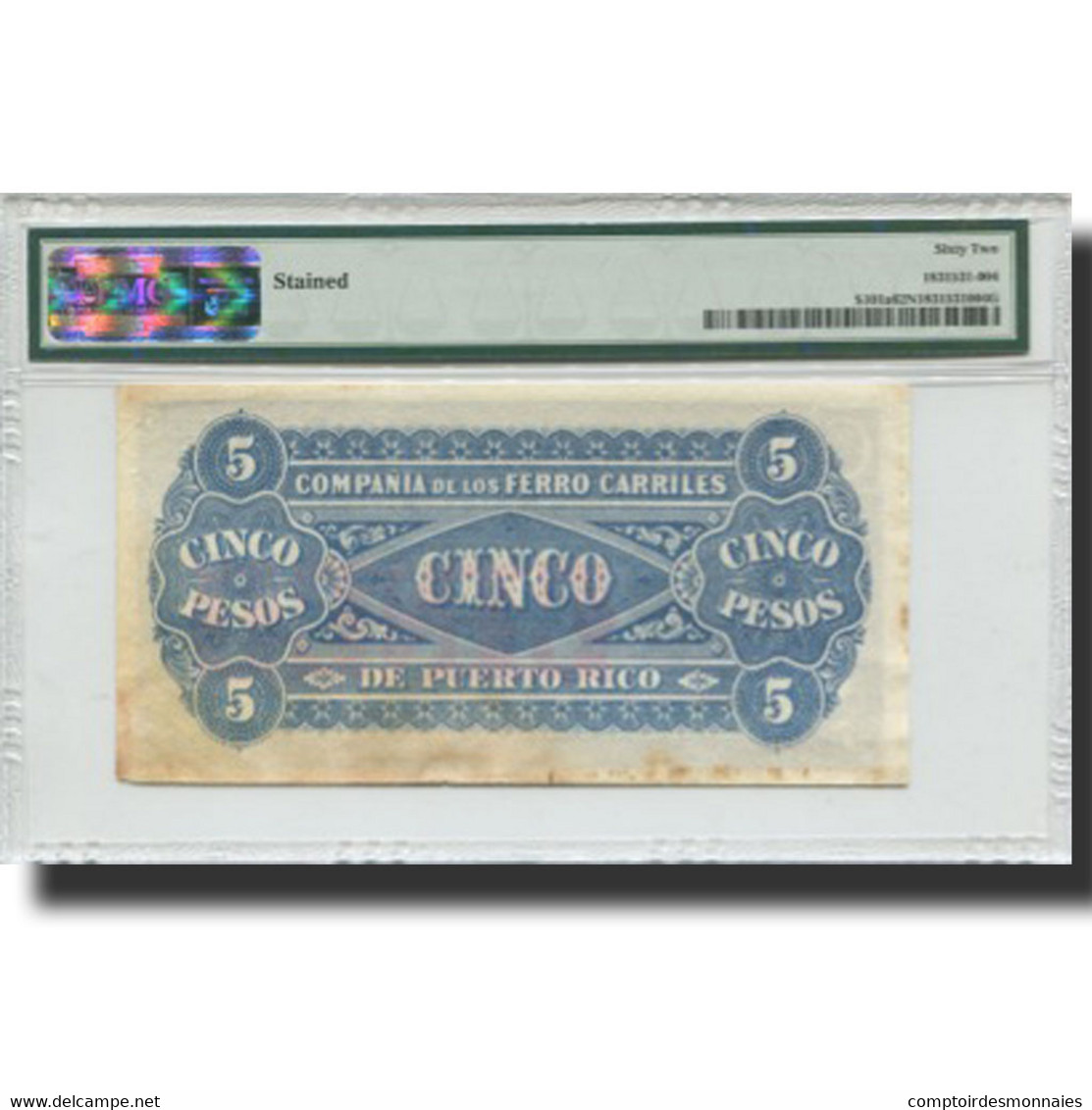 Billet, Puerto Rico, 5 Pesos, UNDATED (1880), Rare, KM:S101a, Gradée, PMG - Puerto Rico