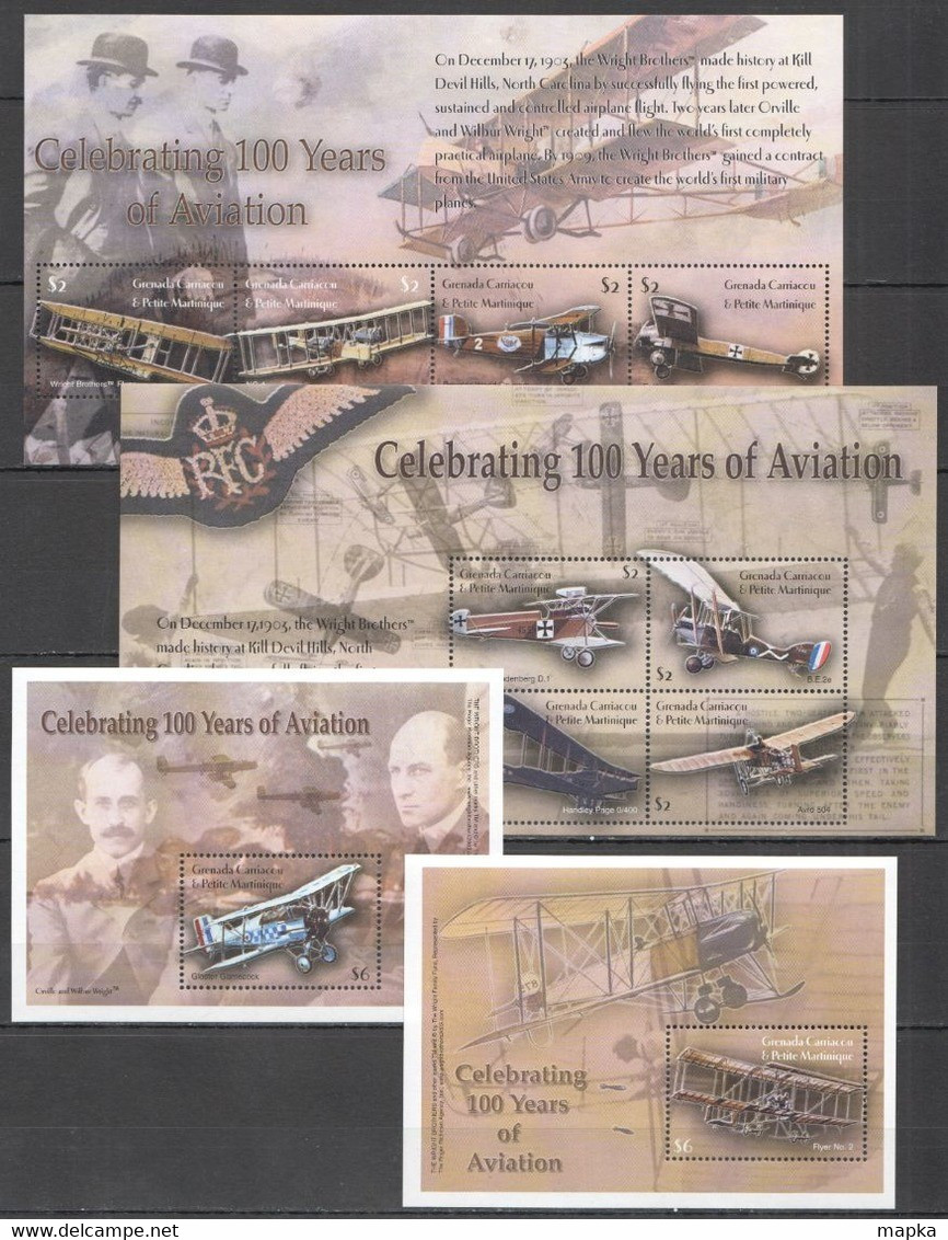 F936 GRENADA CARRIACOU TRANSPORT CELEBRATE 100 YEARS OF AVIATION !!! 2BL+2KB MNH - Airplanes