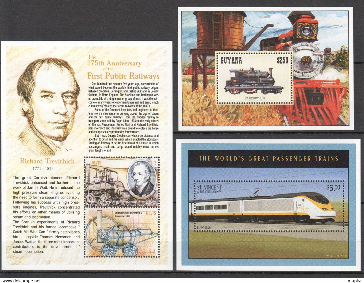 QQ976 NEVIS GUYANA TRANSPORT TRAINS TREVITNICK LOCOMOTIVES WORLD'S GREATEST LOCOMOTIVES 3BL MNH - Trains