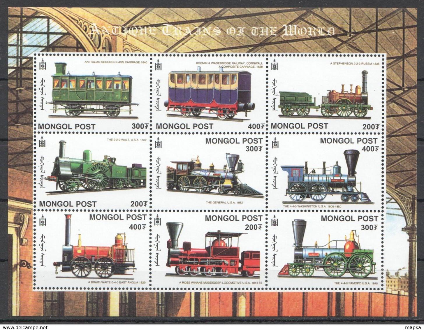 VV403 MONGOL POST ANTIQUE TRAINS OF THE WORLD 1KB MNH - Trains