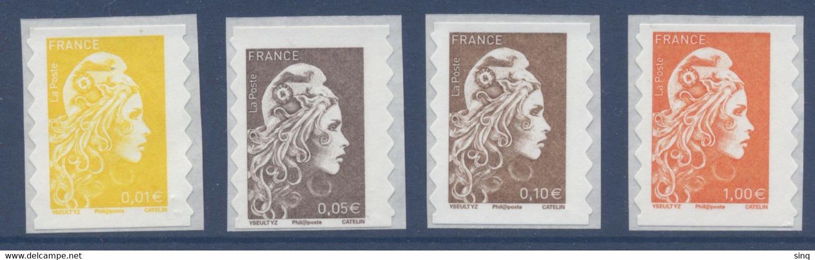 N° 1594 1595 1596 1600  Marianne L'engagée Adhésif Année 2018 Faciale 1,16 € - Luchtpost