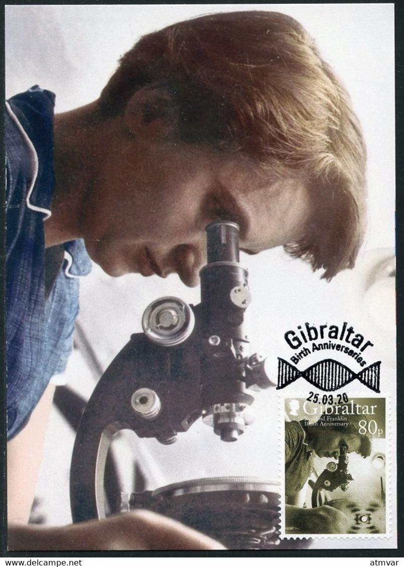 GIBRALTAR (2020). Carte Maximum Card Birth Anniversaires Rosalind Elsie Franklin, Microscope Biology Laboratory Chemist - Gibraltar