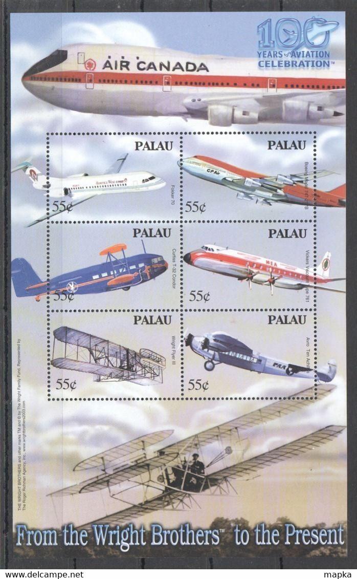 PK371 PALAU TRANSPORTATION 100 YEARS OF AVIATION CELEBRATION 1KB MNH - Airplanes