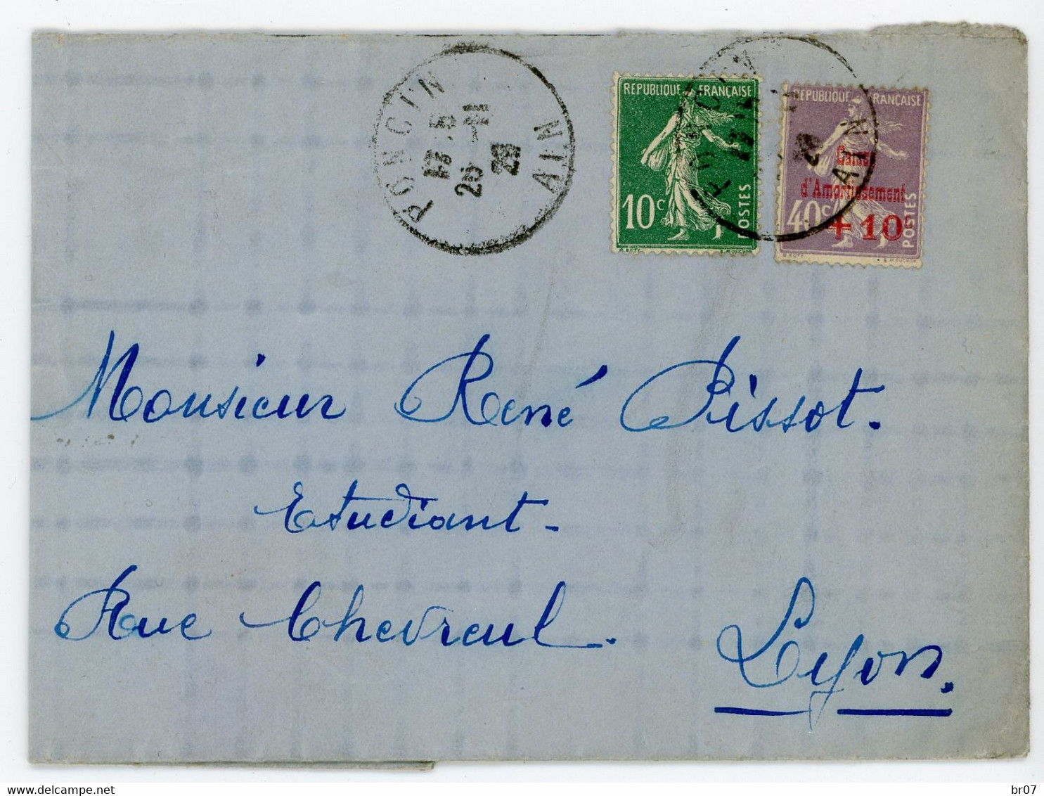 AIN LAC 1928 PONCIN SUR CAISSE AMORTISSEMENT SURTAXE - 1921-1960: Modern Tijdperk