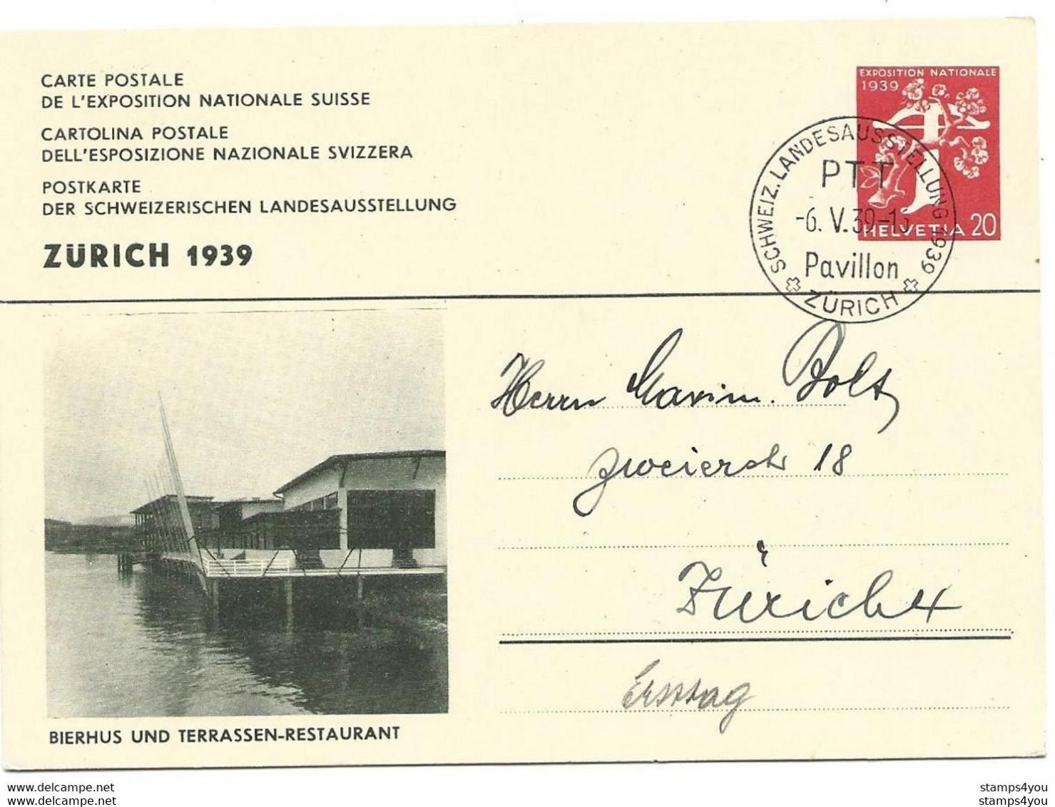 """283 - 23 - Entier Postal """"Expo Nationale 1939 Zürich"""" Oblit Spéciale Pavillon - Stamped Stationery"""