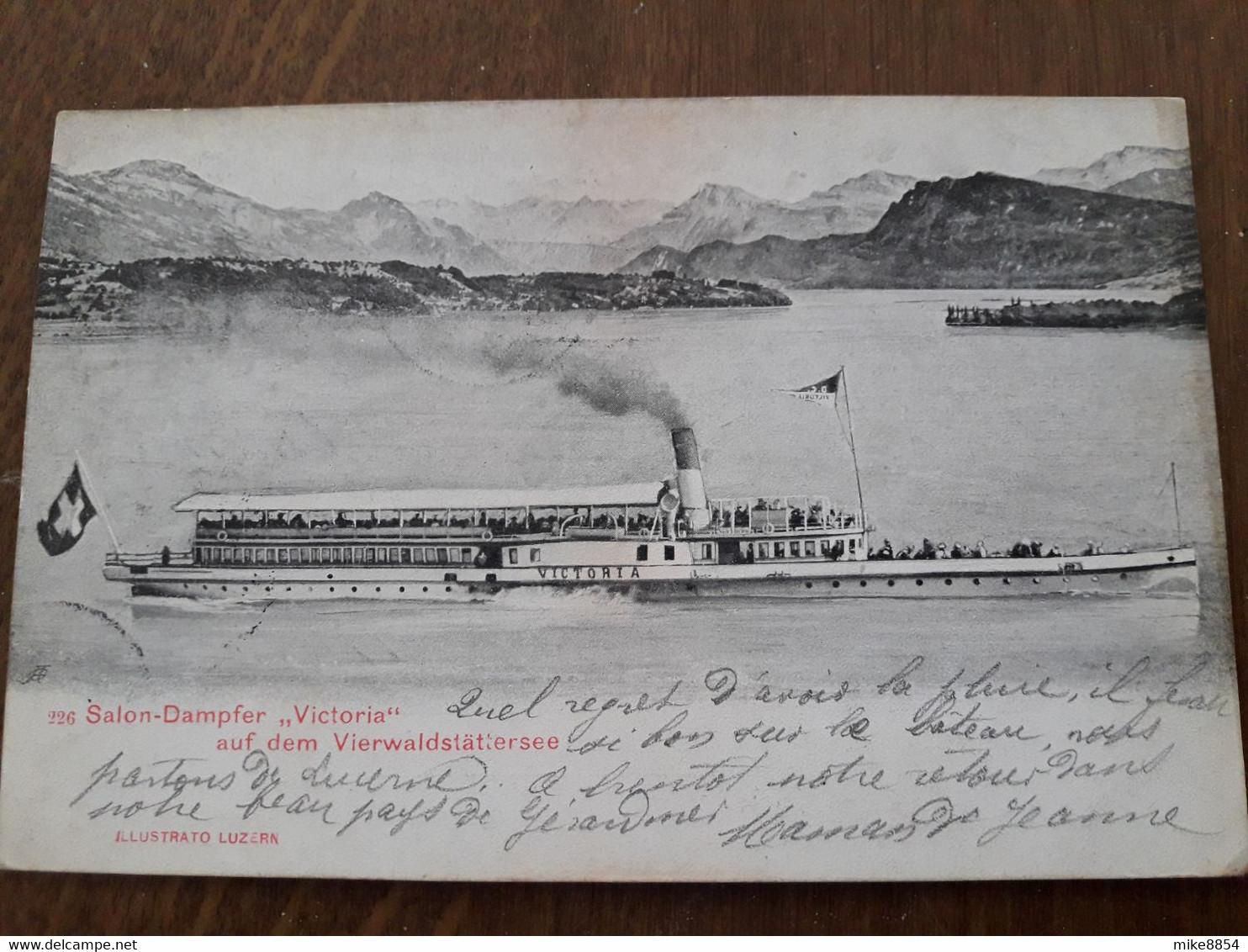 """F0817  CPA  Postkarte LUZERN -  SALON-DAMPFER """"VICTORIA"""" Auf Dem Vierwalstättersee - Lac Des Quatre Cantons  +++ - LU Lucerne"""
