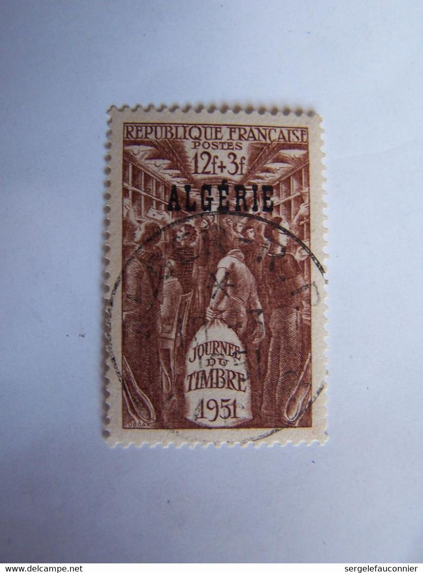 FRANCE ALGERIE FRANCAISE 1951 OBLITERE JOURNEE DU TIMBRE WAGON DE POSTE - Usati