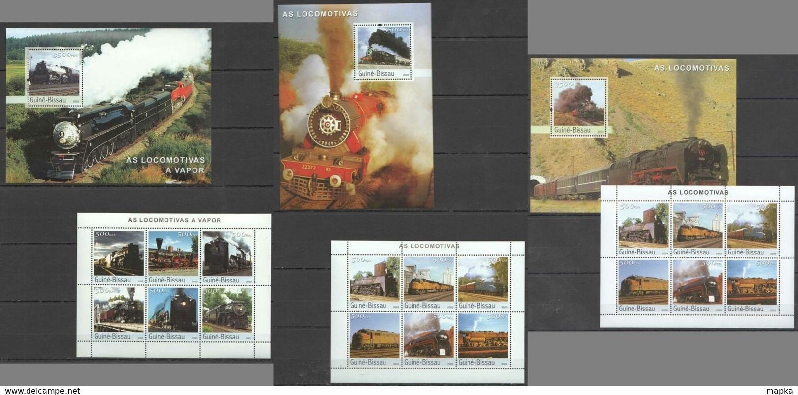 NS319-320 2003 GUINEA-BISSAU TRANSPORT STEAM TRAINS LOCOMOTIVES !!! 3BL+3KB MNH - Trains