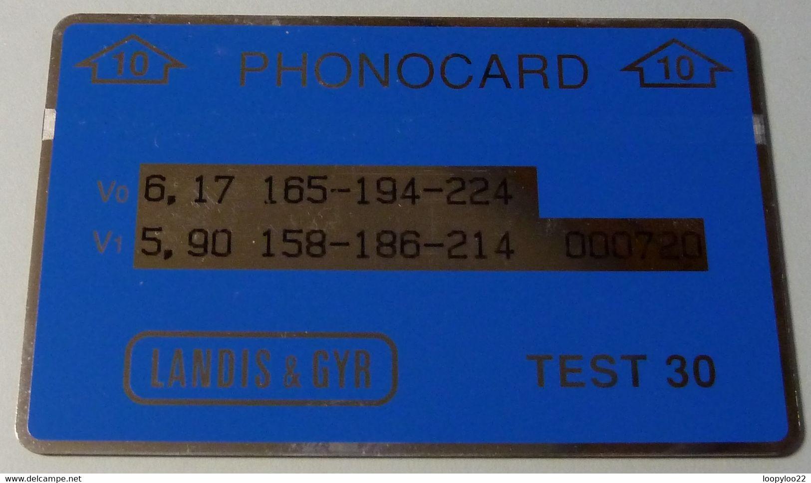 MALAYSIA - L&G - Landis & Gyr - TEST - Printed Oct 92 - Blue - 10 Struc - 100ex - R - Malaysia