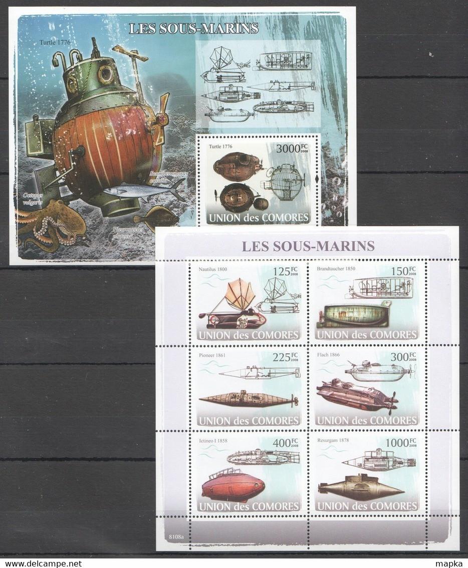 UC101 2008 UNION DES COMORES SHIPS & BOATS LES SOUS-MARINS SUBMARINOS 1KB+1BL MNH - Submarines