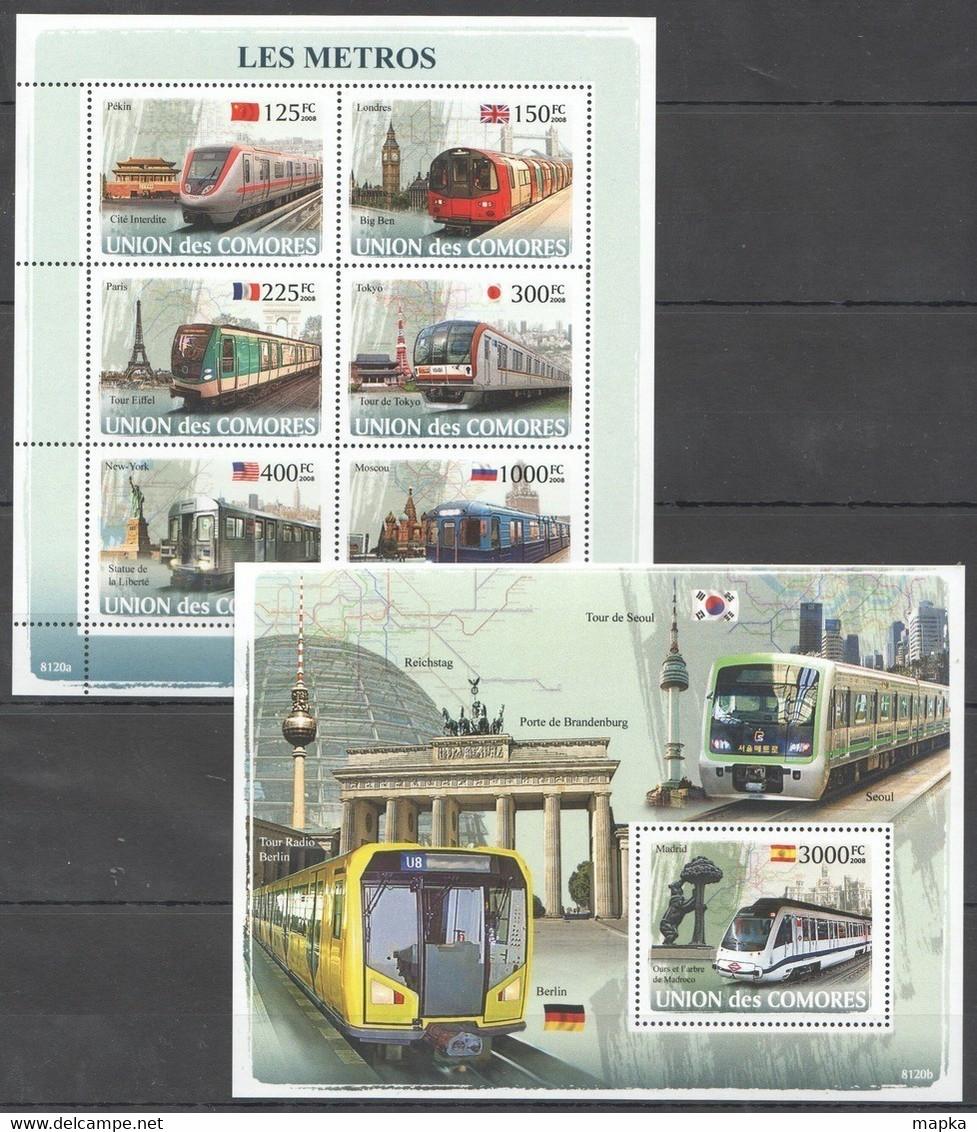 UC102 2008 UNION DES COMORES TRAINS LES METROS 1KB+1BL MNH - Trains