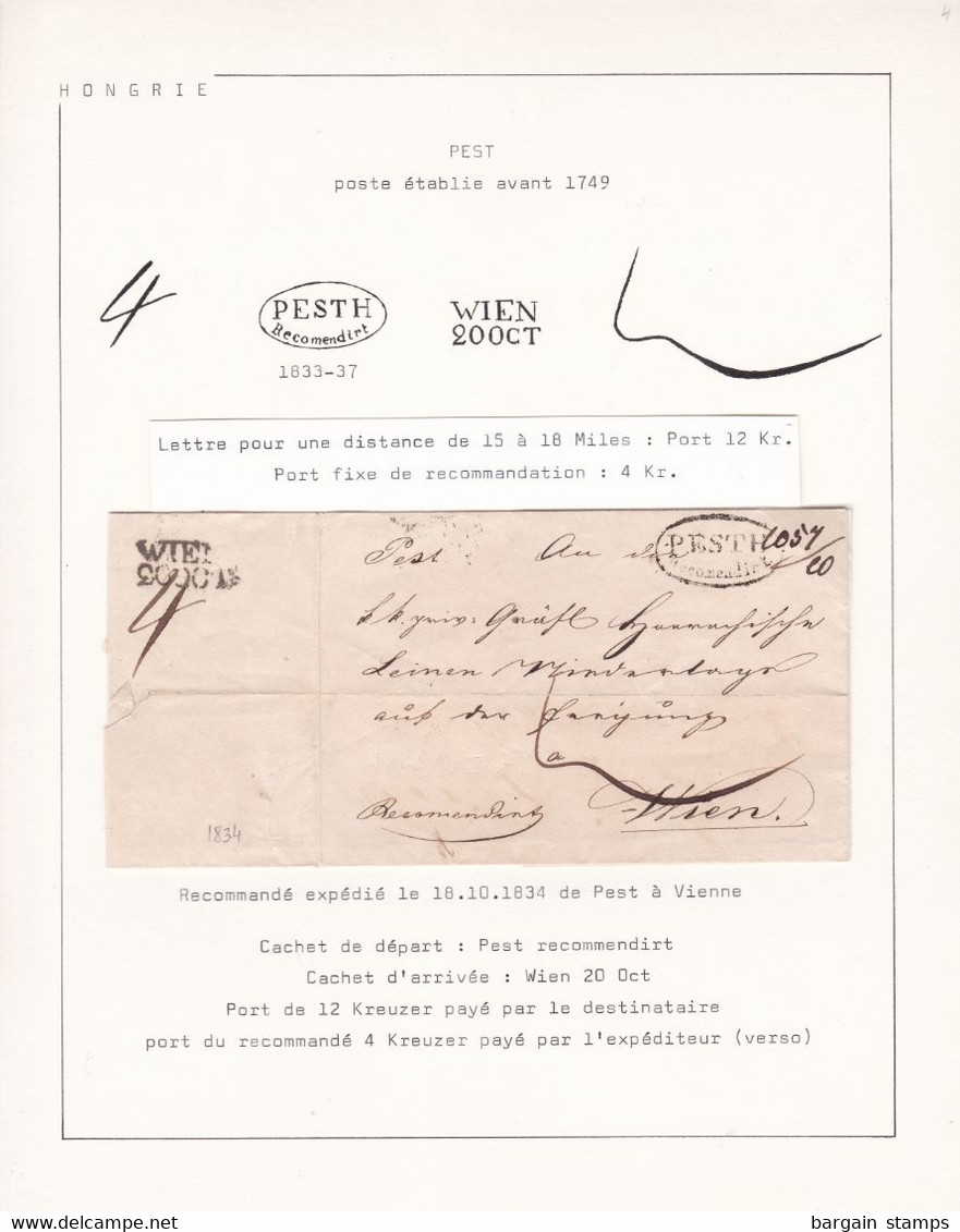 Hungary - Registered Forerunner Pest To Wien - Handstamped Pesth Recomendirt - On Collector's Sheet With Explanations - ...-1867 Vorphilatelie