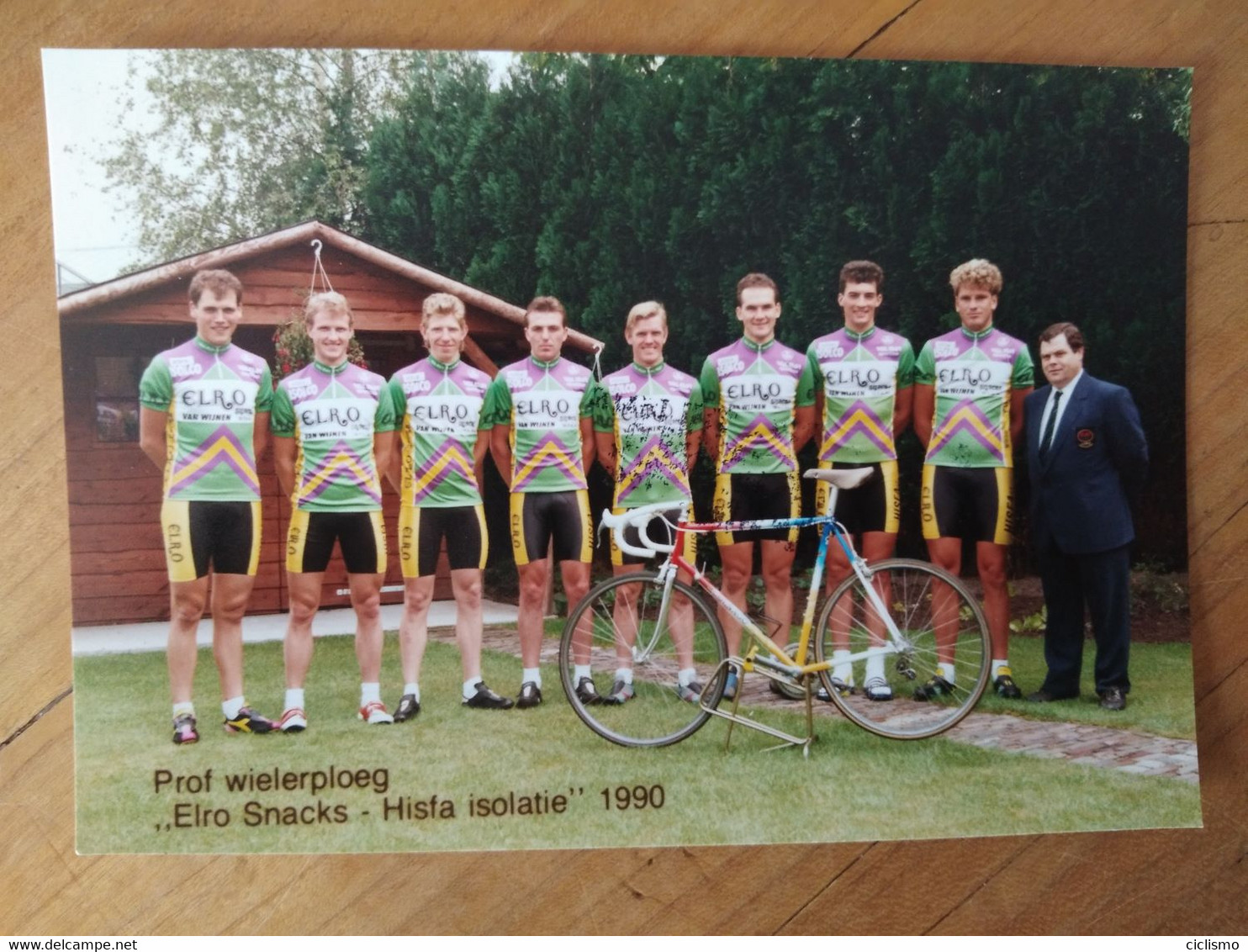Cyclisme - Carte Photo Publicitaire ELROHISFA TÖNISSTEINER 1991 : Le Groupe - Cycling