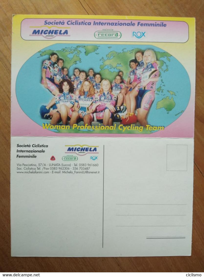 Cyclisme - Carte Publicitaire Recto Verso à Deux Volets MICHELA FANINI RECORD VOX 2001 : Le Groupe - Cycling