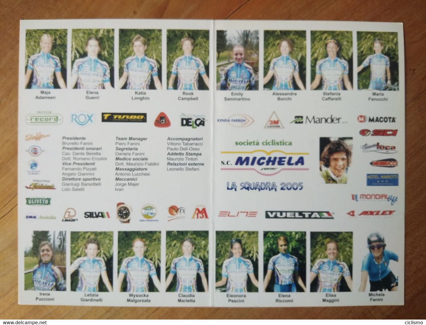 Cyclisme - Carte Publicitaire Recto Verso à Deux Volets MICHELA FANINI RECORD ROX 2005 : Le Groupe - Cycling