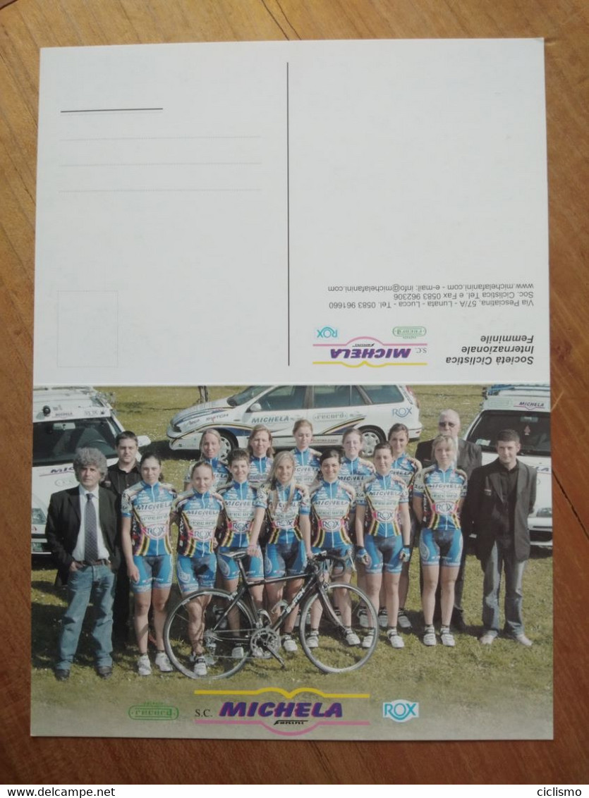 Cyclisme - Carte Publicitaire Recto Verso à Deux Volets MICHELA FANINI RECORD ROX 2001 : Le Groupe - Cycling