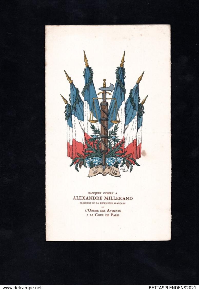 Banquet Offert à ALEXANDRE MILLERAND - Président De La République Française - Au Claridge's Hôtel Avec Musique De La Gar - Menus