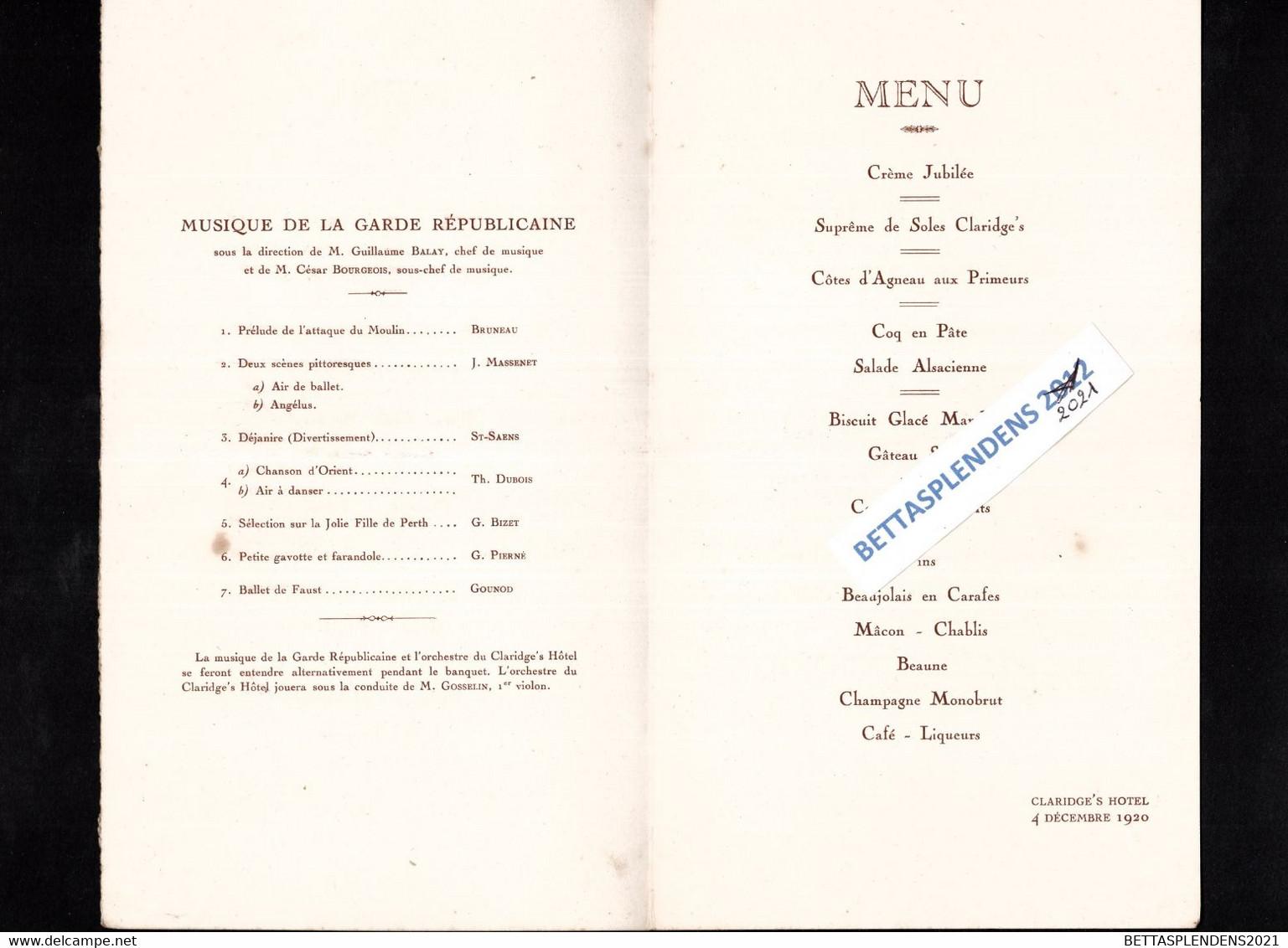 Banquet Offert à ALEXANDRE MILLERAND - Président De La République Française - Au Claridge's Hôtel Avec Musique De La Gar - Menükarten