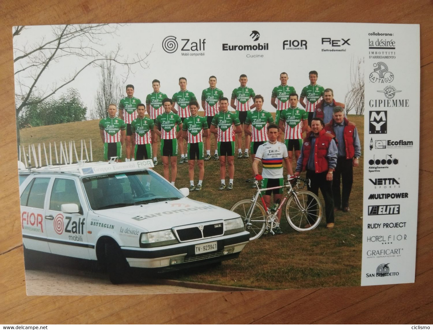 Cyclisme - Carte Publicitaire  ZALF FIOR EUROMOBIL  1996 :  Le Groupe - Cycling