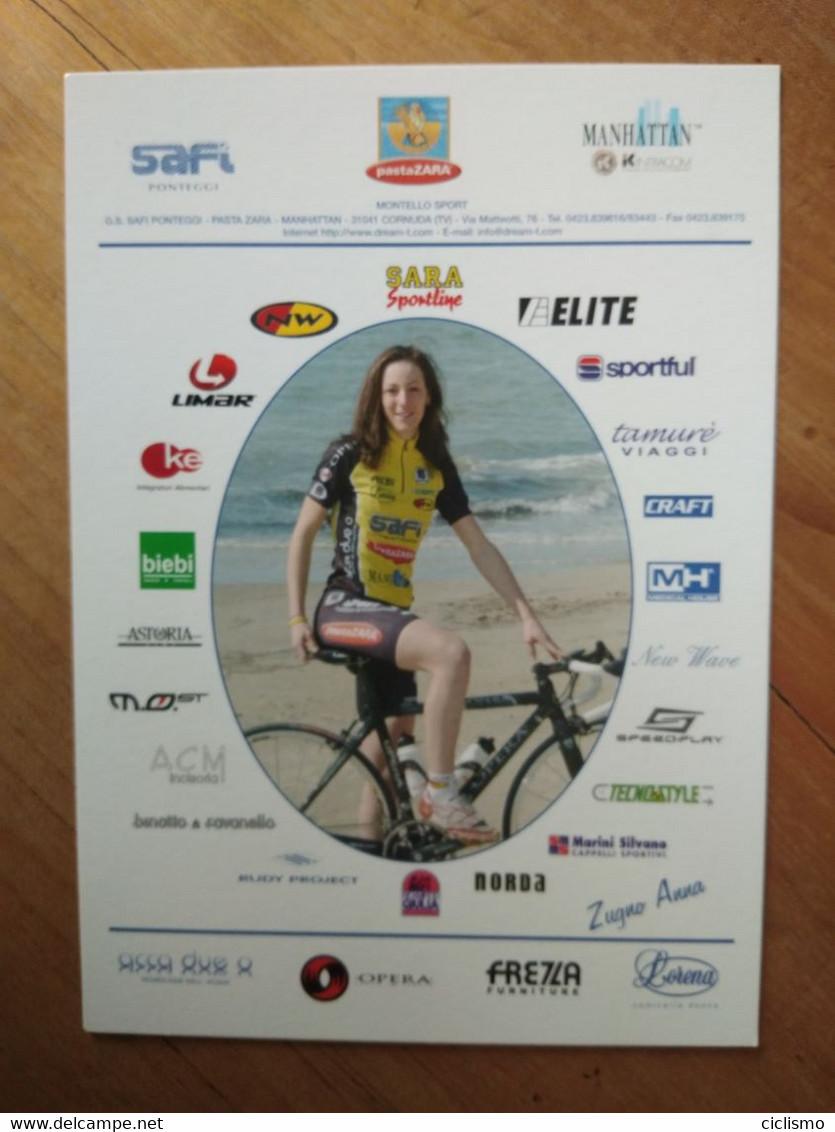 Cyclisme - Carte Publicitaire SAFI PASTA ZARA :  Anna ZUGNO - Cycling