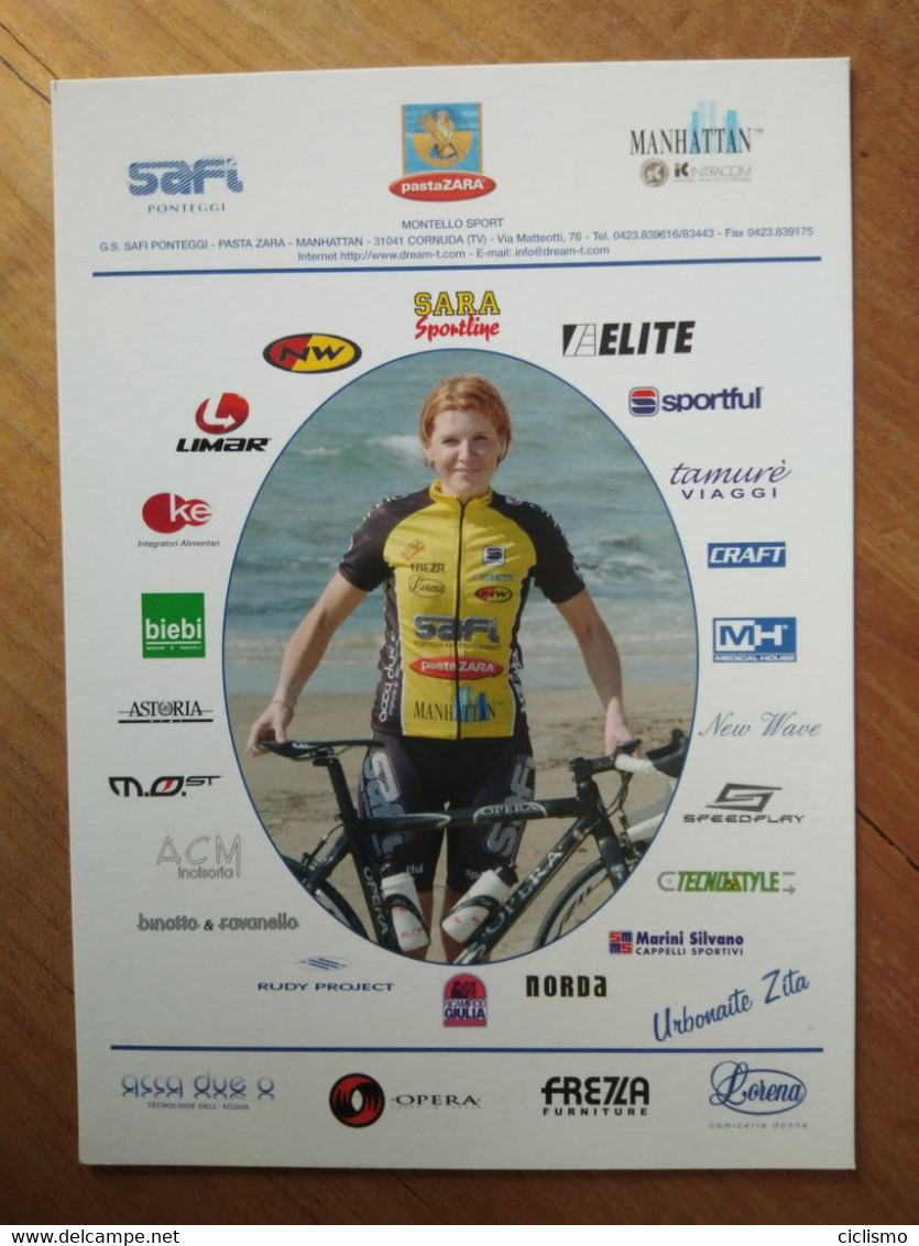 Cyclisme - Carte Publicitaire SAFI PASTA ZARA 2005 :  Zita URBONAITE - Cycling
