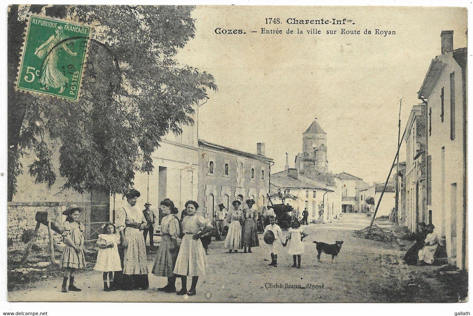 17-COZES- Entrée De La Ville Sur La Route De Royan...1910  Animé - Andere Gemeenten
