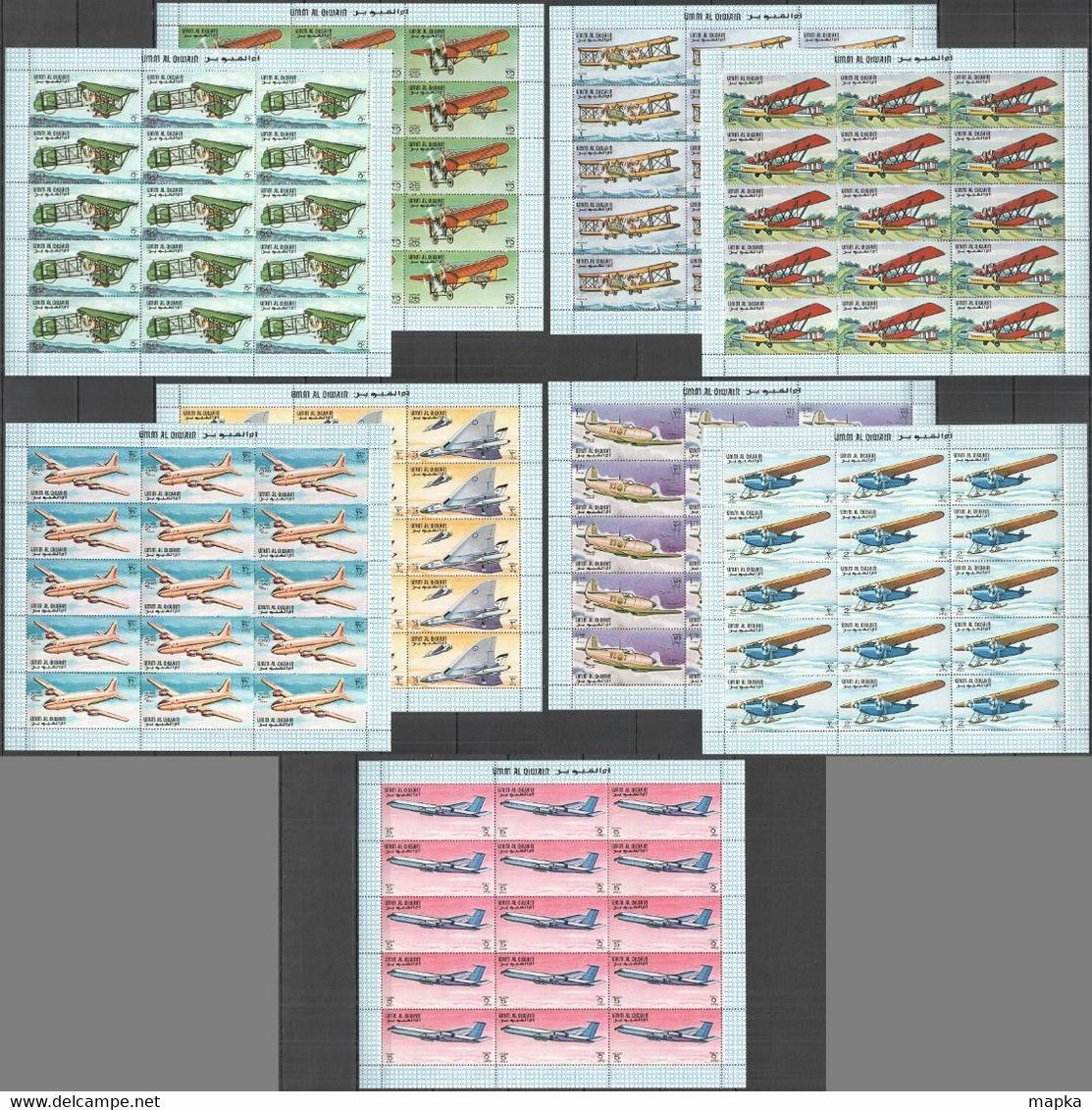NW0114 1968 UMM AL QIWAIN TRANSPORT AVIATION #296-04 MICHEL 127,5 EURO 15SET MNH - Vliegtuigen