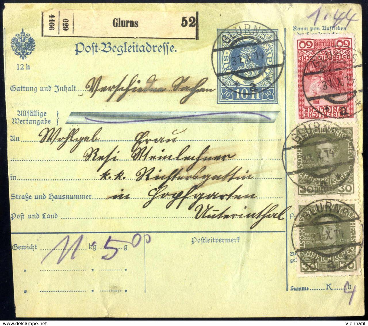 """Cover """"Glurns 31.10.14"""", Postbegleitadresse Mit 148 Heller Frankiert, ANK 143+148+151 - Affrancature Meccaniche Rosse (EMA)"""