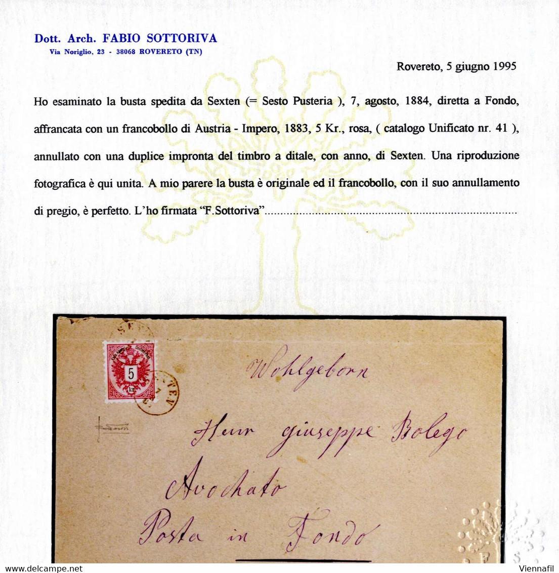 "Cover ""SEXTEN 7/8/84"", Fingerhutstempel Auf 5 Kr, Brief Nach Fondo, Attest Sottoriva (Klein 4784a/80P) - Affrancature Meccaniche Rosse (EMA)"