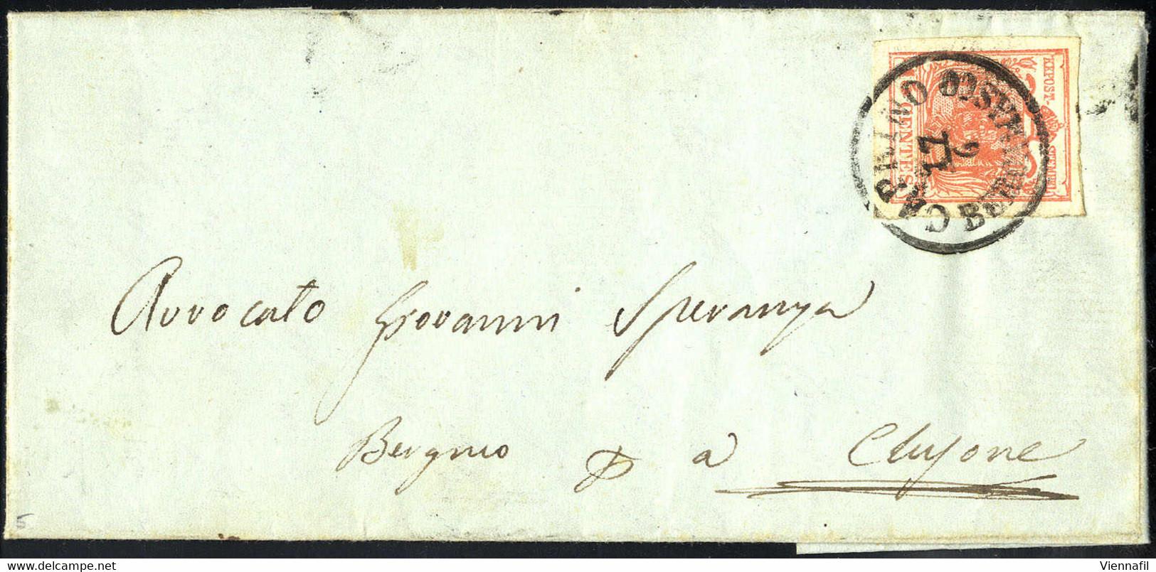 """Cover """"CAPRINO BERGAMASCO 17 / 6"""", Annullo C1 Su 15 Cent., Carta A Macchina, Su Lettera Per Clusone (Sass. 20 - 5P.) - Lombardije-Venetië"""