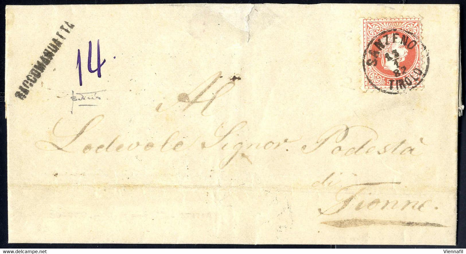 """Cover 1867, """"SANZENO TIROLO 13 / 1 / 82"""", Einkreisstempel Auf 5 Kr. Rot, Rekobrief Nach Tione, Rückseitige Rekomarke Bei - Affrancature Meccaniche Rosse (EMA)"""