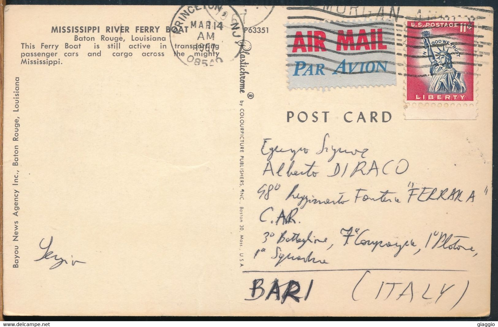 °°° 25313 - USA - LA - BATON ROUGE - MISSISSIPPI RIVER FERRY BOAT - 1967 With Stamps °°° - Baton Rouge
